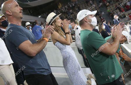 Jelena Djokovic, wife of Novak Djokovic, celebrates his semifinal victory over Rafael Nadal of Spain