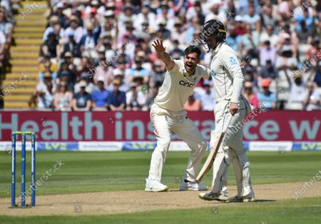 England's James Anderson, left, appeals unsuccessfully for the wicket of New Zealand's Matt Henry during the third day of the second cricket test match between England and New Zealand at Edgbaston in Birmingham, England
