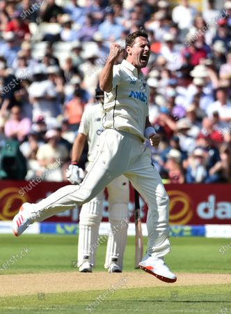New Zealand's Matt Henry celebrates the dismissal of England's Zak Crawley during the third day of the second cricket test match between England and New Zealand at Edgbaston in Birmingham, England