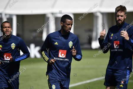 Sweden's (L-R) Robin Quaison, Alexander Isak and Pontus Jansson in action during a training session with the Swedish national soccer team in Gothenburg, Sweden, 12 June 2021. Sweden will face Spain in their UEFA EURO 2020 group E preliminary round soccer match on 14 June 2021.