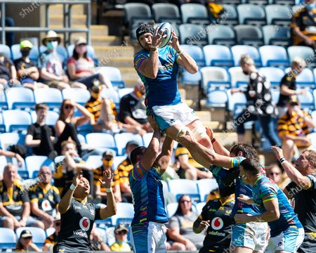 George Martin of Leicester Tigers leaps to secure the ball at a line-out