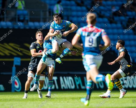 Stock Image of Matt Scott of Leicester Tigers takes an aerial ball