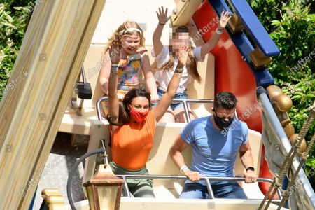 Michelle Heaton, visiting Chessington World of Adventures Resort with her husband, Hugh, and children for a fun family day out.