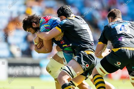 Stock Image of George Martin of Leicester Tigers hold onto bal during the Gallagher Premiership Rugby match between Wasps and Leicester Tigers at the Ricoh Arena, Coventry
