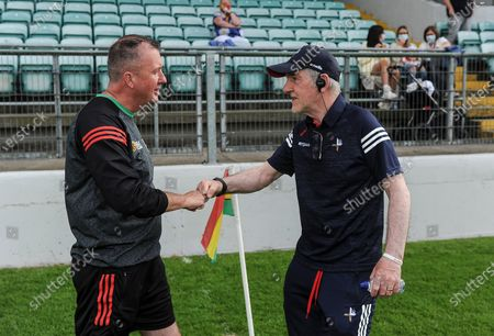 Carlow vs Louth. Managers Niall Carew and Mickey Harte at the end of the match