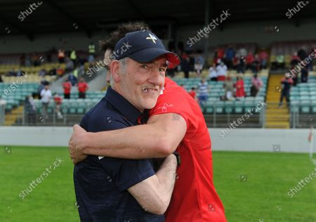 Carlow vs Louth. Louth manager Mickey Harte celebrates with Emmet Carolan after the match