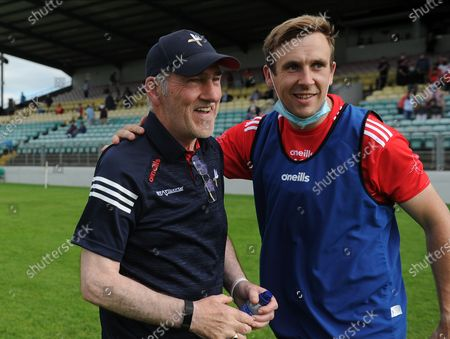 Stock Photo of Carlow vs Louth. Louth manager Mickey Harte celebrates with Eoghan Duffy after the match