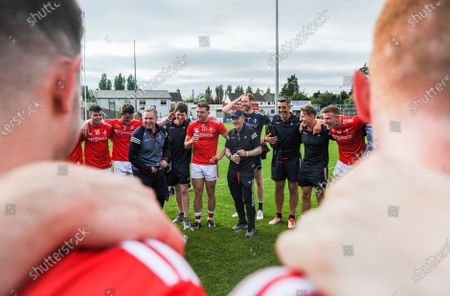 Carlow vs Louth. Louth manager Mickey Harte speaks to his players after the match
