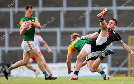 Tyrone vs Kerry. Kerry's Tommy Walsh and goalkeeper Niall Morgan of Tyrone collide leaving Jack Barry free to score the sixth goal