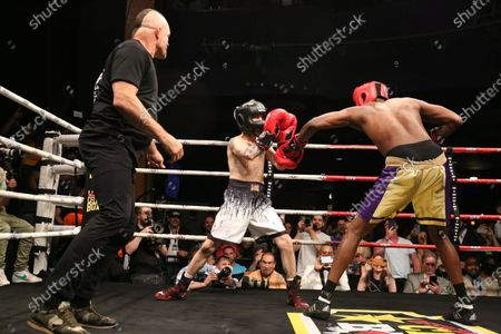Chuck Liddell pictured in the ring as guest referee for the Lamar Odom versus Aaron Carter Main event