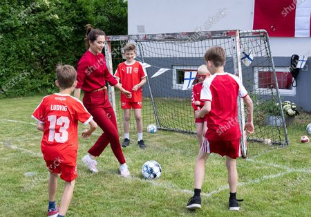 Crown Princess Mary of Denmark visits a football party in Roedovre, prior Denmark's first UEFA Euro 2020 group match against Finland, in Copenhagen, Denmark, 12 June 2021.