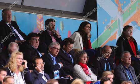 Crown Prince Frederik (C-L) and Crown Princess Mary (C-R) of Denmark react as Christian Eriksen (not pictured) of Denmark receives medical assistance during the UEFA EURO 2020 group B preliminary round soccer match between Denmark and Finland in Copenhagen, Denmark, 12 June 2021.