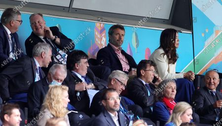 Crown Prince Frederik and Crown Princess Mary of Denmark during the UEFA EURO 2020 group B preliminary round soccer match between Denmark and Finland in Copenhagen, Denmark, 12 June 2021.