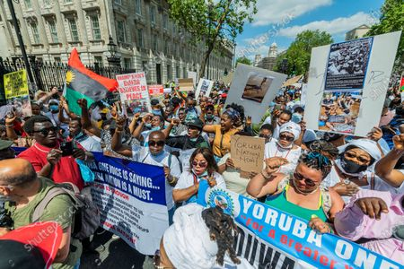 Editorial picture of Protest outside Parliament in support of Uyghur Muslims as a motion is debated inside., Parliament Square, London, UK - 12 Jun 2021