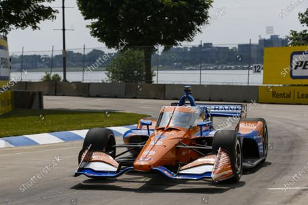 Stock Image of THE RACEWAY ON BELLE ISLE, UNITED STATES OF AMERICA - JUNE 12: #9: Scott Dixon, Chip Ganassi Racing Honda at The Raceway on Belle Isle on Saturday June 12, 2021 in Detroit, United States of America. (Photo by Jake Galstad / LAT Images)