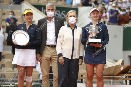 Finalist Anastasia Pavlyuchenkova of Russia, President of French Tennis Federation FFT Gilles Moretton, trophy presenter Martina Navratilova, winner Barbora Krejcikova of Czech Republic