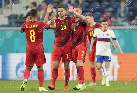 (L-R) Youri Tielemans of Belgium celebrates with team-mates Leander Dendoncker and Toby Alderweireld after winning the UEFA EURO 2020 group B preliminary round soccer match between  Belgium and Russia in St.Petersburg, Russia, 12 June 2021.