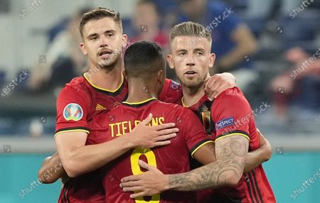 Youri Tielemans (C) of Belgium celebrates with team-mates Leander Dendoncker (L) and Toby Alderweireld (R) after winning the UEFA EURO 2020 group B preliminary round soccer match between  Belgium and Russia in St.Petersburg, Russia, 12 June 2021.