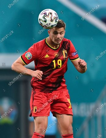 Belgium's Leander Dendoncker heads the ball during the Euro 2020 soccer championship group B match between Russia and Belgium at Gazprom arena stadium in St. Petersburg, Russia