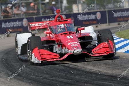 Marcus Ericsson, of Sweden, races during the first race of the IndyCar Detroit Grand Prix auto racing doubleheader on Belle Isle in Detroit . Ericsson won the race