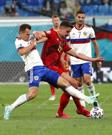Stock Photo of Leander Dendoncker (C) of Belgium in action during the UEFA EURO 2020 group B preliminary round soccer match between  Belgium and Russia in St.Petersburg, Russia, 12 June 2021.