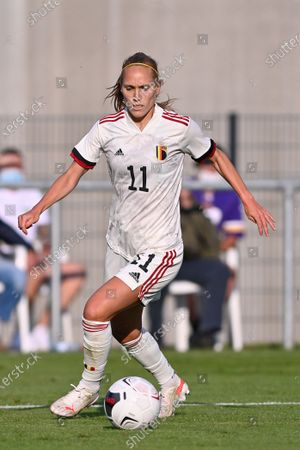 Janice Cayman (11) of Belgium  pictured during a friendly female soccer game between the national teams of Luxemburg and Belgium , called the Red Flames  in a preparation towards the qualification for the  FIFA Womenâ€s World Cup , on saturday 12 th of June 2021  in Wiltz , Luxemburg