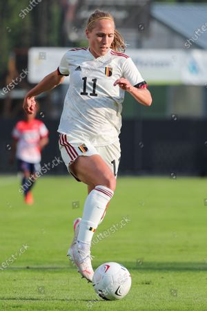 Stock Photo of Janice Cayman (11) of Belgium  pictured during a friendly female soccer game between the national teams of Luxemburg and Belgium , called the Red Flames  in a preparation towards the qualification for the  FIFA Womenâ€s World Cup , on saturday 12 th of June 2021  in Wiltz , Luxemburg