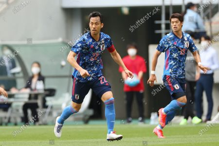 Stock Photo of (L to R)  Maya Yoshida,  Hiroki Sakai (JPN) - Football / Soccer :  International Friendly Match  between U-24 Japan 4-0 Jamaica  at Toyata Stadium, Aichi, Japan.