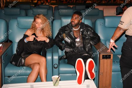 Stock Picture of Jena Frumes, left, and Jason Derulo attend LiveXLive's Social Gloves: Battle of the Platforms match