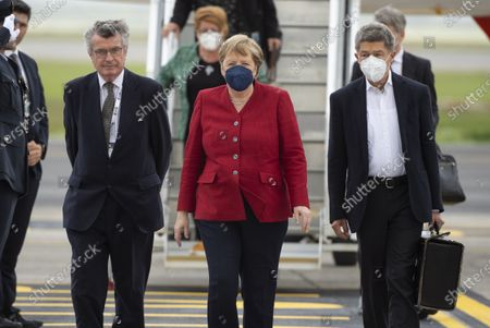 Stock Image of G7 Leaders' Airport Arrival - Chancellor of Germany Angela Merkel and her husband, Joachim Sauer
