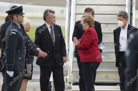 G7 Leaders' Airport Arrival - Chancellor of Germany Angela Merkel and her husband, Joachim Sauer