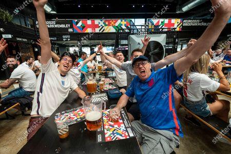 Fans watching England v Croatia Euro 2020 match