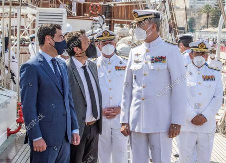 King Felipe aboard the training ship 'Juan Sebastan Elcano'
