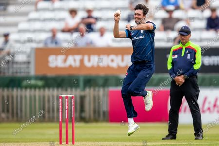 Michael Cohen of Derbyshire Falcons during the Vitality T20 Blast North Group match between Derbyshire County Cricket Club and Warwickshire County Cricket Club at the Incora County Ground, Derby