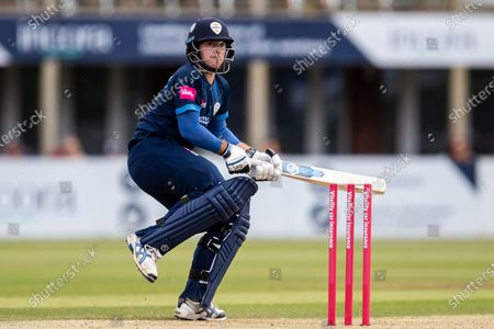 Michael Cohen of Derbyshire Falcons scores six off last ball of Falcons innings during the Vitality T20 Blast North Group match between Derbyshire County Cricket Club and Warwickshire County Cricket Club at the Incora County Ground, Derby