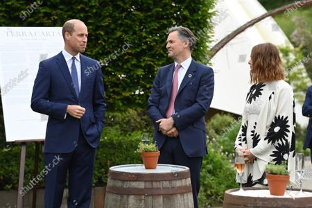 Prince William speaks with guests during a reception and dinner hosted by the Eden Project on June 11, 2021, in Cornwall, United Kingdom. Prime Minister Johnson chairs the G7 Summit taking place in Carbis Bay, Cornwall.