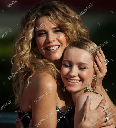 Stock Photo of Spanish actress, Juana Acosta (L) poses with actress, Maria Romanillls (R) for photographers at the closing red carpet inside Miramar Hotel. The new edition of the 24th Malaga Spanish Film Festival, a great cinematographic event presents the film candidates to win the 'Biznaga de Oro' prize, following all measures to prevent the spread of coronavirus and to guarantee a secure event. The festival will be held from 3 to 13 June.