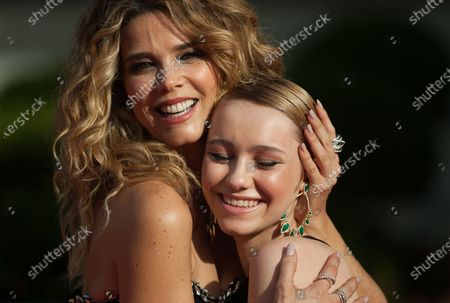 Stock Image of Spanish actress, Juana Acosta (L) poses with actress, Maria Romanillls (R) for photographers at the closing red carpet inside Miramar Hotel. The new edition of the 24th Malaga Spanish Film Festival, a great cinematographic event presents the film candidates to win the 'Biznaga de Oro' prize, following all measures to prevent the spread of coronavirus and to guarantee a secure event. The festival will be held from 3 to 13 June.