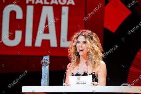 Actress Juana Acosta seen during the Closing Gala of Festival de Malaga 2021 at Teatro Cervantes. 'El Ventre del Mar', a film directed by Agusti Villaronga, have been the most awarded film during Festival de Malaga 2021.