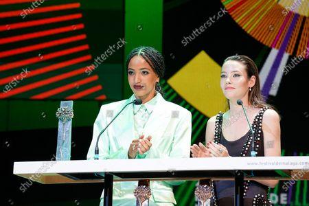 Actresses Mireia Oriol (r) and Dariam Coco (l) seen during the Closing Gala of Festival de Malaga 2021 at Teatro Cervantes. 'El Ventre del Mar', a film directed by Agusti Villaronga, have been the most awarded film during Festival de Malaga 2021.
