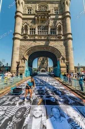 Sadiq Khan visits JR: Inside Out project on Tower Bridge, London