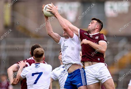 Monaghan vs Galway. Monaghan's Niall Kearns with Paul Conroy of Galway