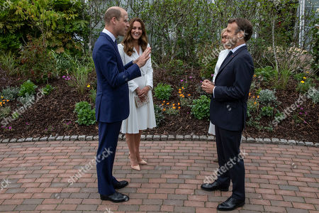 Britain's Prince William and Kate, Catherine Duchess of Cambridge speak to French President Emmanuel Macron and wife Brigitte, at a reception for the G7 leaders at the Eden Project in Cornwall, England, during the G7 summit