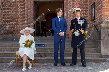 Queen Margrethe II of Denmark, Prince Christian of Denmark, Crown Prince Frederik of Denmark visit to St. Mary's Cathedral in Haldersleben, June 13, 2021