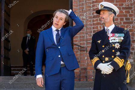 Prince Christian of Denmark, Crown Prince Frederik of Denmark visit to St. Mary's Cathedral in Haldersleben, June 13, 2021