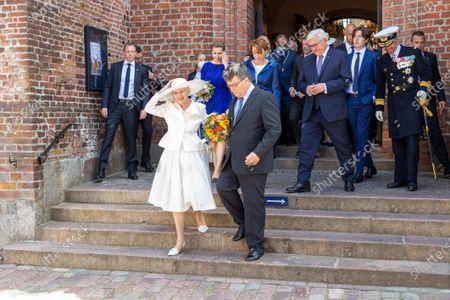 front: Queen Margrethe II of Denmark, back: Elke Buedenbender, Frank Walter Steinmeier, Prince Christian of Denmark, Crown Prince Frederik of Denmark visit to Denmark, visit to St. Marien Cathedral in Haldersleben, June 13, 2021, photo : People Picture / Willi Schneider