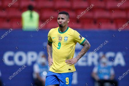 Gabriel Jesus of Brazil watches play take shape ahead of him; Mane Garrincha Stadium, Brasilia, Distrito Federal, Brazil; Copa America, Brazil versus Venezuela.