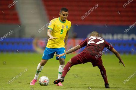 Gabriel Jesus of Brazil takes on Cumaná of Venuzuela; Mane Garrincha Stadium, Brasilia, Distrito Federal, Brazil; Copa America, Brazil versus Venezuela.