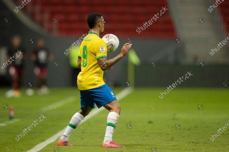 Gabriel Jesus of Brazil controls the high ball; Mane Garrincha Stadium, Brasilia, Distrito Federal, Brazil; Copa America, Brazil versus Venezuela.