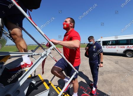 Lions player Ken Owens gets on the plane to Jersey